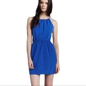 Aaron Ashe blue silk Naples tie back dress